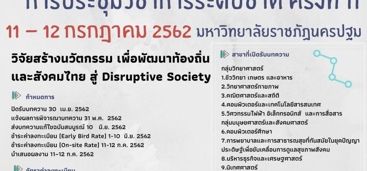 ขอเชิญชวนส่งบทความวิชาการหรือบทความวิจัย เข้าร่วมการประชุมวิชาการระดับชาติ  ครั้งที่ 11  ณ มหาวิทยาลัยราชภัฏนครปฐม