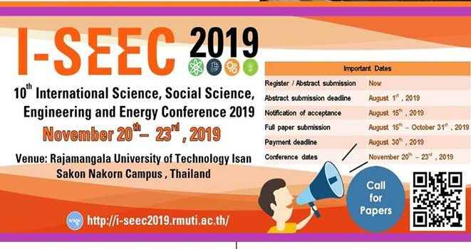 The 10th International Science, Social Science, Engineering and Energy Conference (I – SEEC 2019)